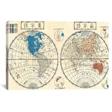 'Antique Maps Japanese of The World in Two Hemispheres (1848)' by Shincho Graphic Art on Canvas