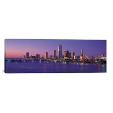 Panoramic Miami Skyline Cityscape Photographic Print on Canvas in Evening