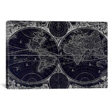 Antique Map of the World in Two Hemispheres (1730) by Stoopendaal Graphic Art on Canvas in Negative