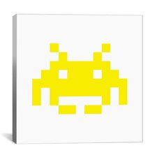 Space Invaders Graphic Art on Canvas in Yellow