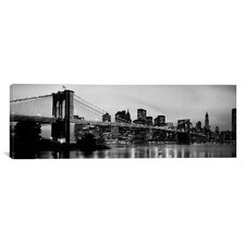 Brooklyn Bridge Across The East River at Dusk, Manhattan, New York Photographic Print on Canvas in Black/White