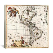 'Antique Maps North America and South America (1658)' by Visscher Gaphic Art on Canvas