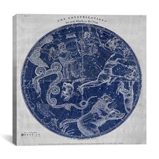Maps and Charts Prints the Stars Constellations of the Northern Hemisphere (Burritt 1856) Graphic Art on Canvas in Blue