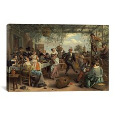 'The Dancing Couple' by Jan Steen Painting Print on Canvas