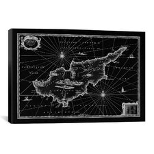 Antique Map of Cyprus (1653) by Joan Janssonius Graphic Art on Canvas in Black