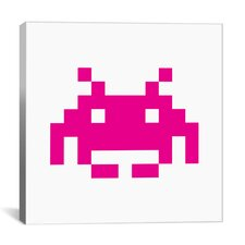 Space Invaders Graphic Art on Canvas in Pink