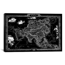 Antique Map of Asia (1851) by John Tallis Graphic Art on Canvas in Black