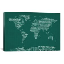 World Map Sheet Music  by Michael Tompsett Textual Art on Canvas in Green