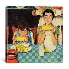 'Who's Having More Fun (Kids Eating Corn)' by Norman Rockwell Painting Print on Canvas