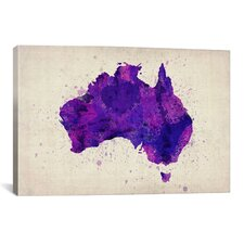 Map of Australia Paint Splashes by Michael Tompsett Graphic Art on Canvas in Purple