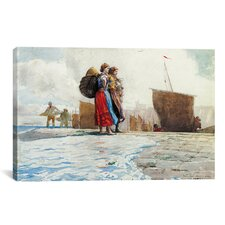 'The Breakwater, Cullercoats 1882' by Winslow Homer Painting Print on Canvas
