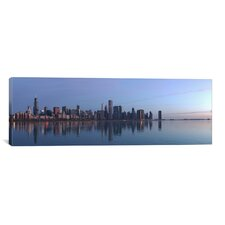 Chicago Panoramic Skyline Cityscape Photographic Print on Canvas in Sunrise