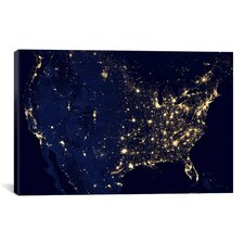 The Earth at Night Canvas Wall Art