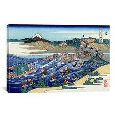 'The Fuji from Kanaya on the Tokaido (Tokaido Kanaya no Fuji)' by Katsushika Hokusai Painting Print on Canvas