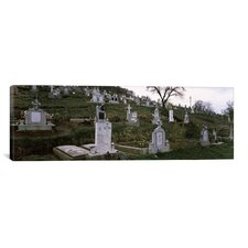 Panoramic 'Tombstone in a Cemetery, Saxon Church, Biertan, Transylvania, Mures County, Romania' Photographic Print on Canvas