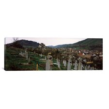 Panoramic 'Tombstones in a Cemetery, Saxon Church, Biertan, Sibiu County, Transylvania, Romania' Photographic Print on Canvas