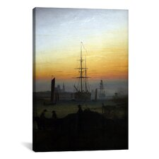 'Ships in Greifswald Harbor' by Caspar David Friedrich Painting Printon Canvas