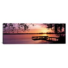 Panoramic Florida, Orlando, Koa Campground, Lake Whippoorwill, Sunrise Photographic Print on Canvas