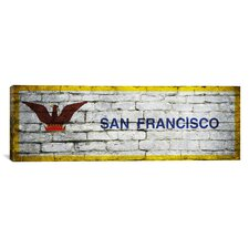 Flags San Francisco Bricks Panoramic Graphic Art on Canvas