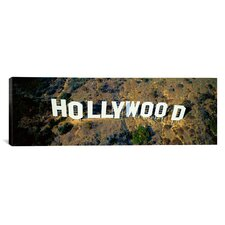 Panoramic California, Los Angeles, Aerial View of Hollywood Sign at Hollywood Hills Photographic Print on Canvas