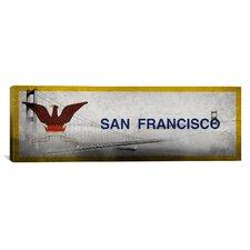 Flags San Francisco Golden Gate Bridge Panoramic Graphic Art on Canvas
