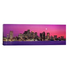 Panoramic Massachusetts, Boston, View of an Urban Skyline by the Shore at Night Photographic Print on Canvas
