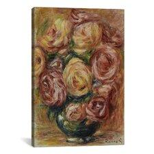 """Vase De Roses"" by Pierre-Auguste Renoir Canvas Painting Print"