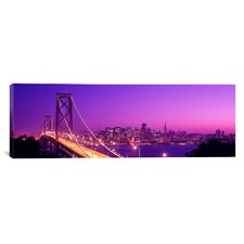 Panoramic California, San Francisco, Bay Bridge, Night Photographic Print on Canvas