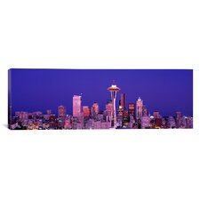 Panoramic Washington, Seattle, Night Photographic Print on Canvas