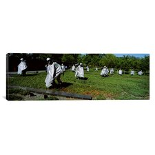 Panoramic Washington, D.C, Korean War Memorial, Statues in the Field Photographic Print on Canvas