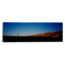Panoramic Colorado, Great Sand Dunes National Monument, Runner Jogging in the Park Photographic Print on Canvas