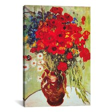 'Vase with Daisies and Poppies' by Vincent Van Gogh Painting Print on Canvas
