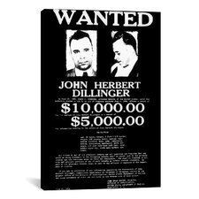 Mugshot John Herbert Dillinger Textual Art on Canvas