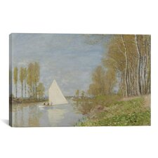 'Voilier Sur Le Petit Bras De La Seine, Argenteuil 1872' by Claude Monet Painting Print on Canvas