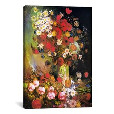 'Vase with Cornflowers and Poppies, Peonies and Chrysanthemums' by Vincent Van Gogh Painting Print on Canvas