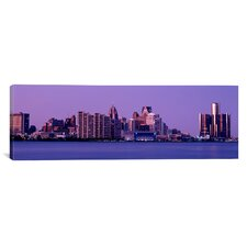 Panoramic 'Michigan, Detroit, Twilight' Photographic Print on Canvas