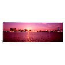Panoramic Pennsylvania, Philadelphia at Dusk Photographic Print on Canvas
