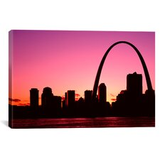 Panoramic Missouri, St. Louis, Sunset Photographic Print on Canvas