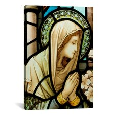 Christian Virgin Marry Stained Glass Painting Print on Canvas