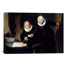 'The Shipbuilder and his Wife' by Rembrandt Painting Print on Canvas