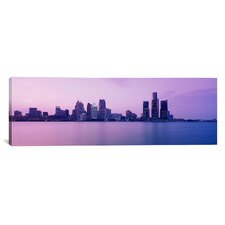 Panoramic Skyscrapers at the Waterfront, Detroit, Michigan Photographic Print on Canvas