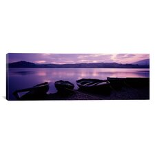Panoramic Sunset Fishing Boats Loch Awe Scotland Photographic Print on Canvas
