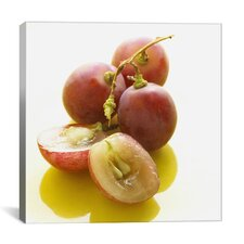 Sliced Red Grapes Close-up Photographic Canvas Wall Art