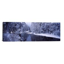 Panoramic Snow Covered Trees along a River, Yosemite National Park, California Photographic Print on Canvas