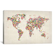 """Stars World Map"" by Michael Thompsett Graphic Art on Canvas"
