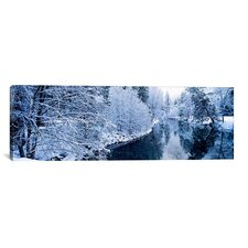 Panoramic 'Snow Covered Trees along a River, Yosemite National Park, California' Photographic Print on Canvas