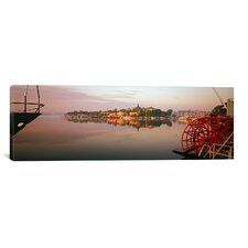 Panoramic 'Sternwheeler in a River, Skeppsholmen, Nybroviken, Stockholm, Sweden' Photographic Print on Canvas