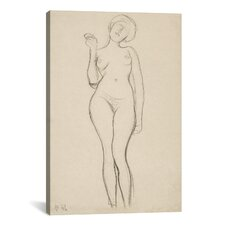 'Standing Female Nude with Raised Right Arm' by Gustav Klimt Painting Print on Canvas