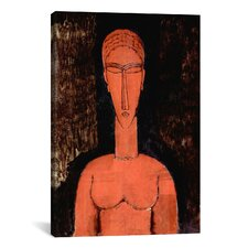 'The Red Bust' by Amedeo Modigliani Painting Print on Canvas