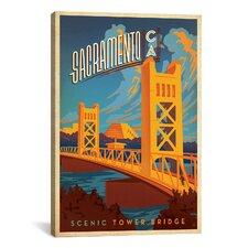 Anderson Design Group Scenic Tower Bridge - Sacramento, California Graphic Art on Canvas